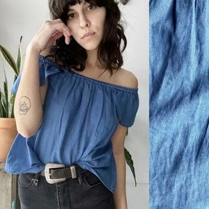 Madewell Chambray Denim Off the Shoulder Top